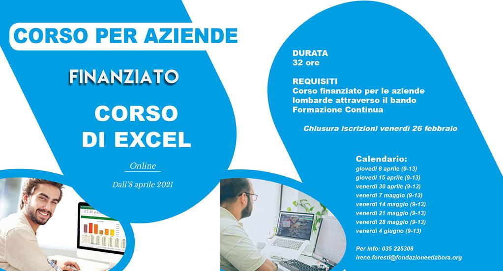 CORSO Excel finanziato online